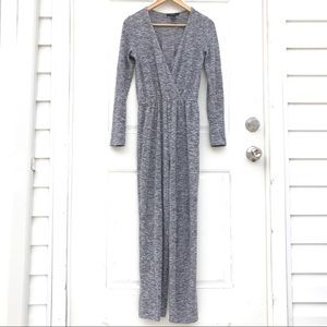 Forever 21 Pants & Jumpsuits - NEW Heather Grey Marled Knit Surplice Jumpsuit